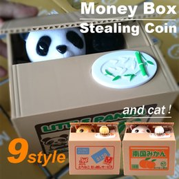 Wholesale Zorn toys Piggy Bank Cute Stealing Coin Cat Money Box Electric Savings box style Panda Dog Pig Mouse Monkey kids gifts Christmas toys