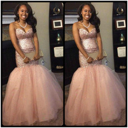 Shinning Pink Sweetheart Mermaid Prom Dress Major Beading Sequins Tulle  Girls Pageant Dress For Teens Lace Up Back Celebrity Evening Gowns 891b85054742