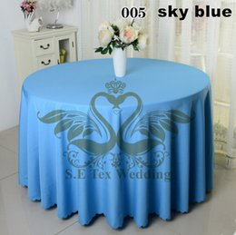 Nice Looking Sky Blue Color Round Poly Table Cloth For Wedding