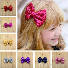 new Europe style cute Baby barrettes girls children sequins hairpin large bow hair jewelry 24 colors