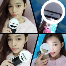 Wholesale-New Selfie Portable Flash Led Camera Photography Ring Light for Smartphone iPhone 6 plus 6s Samsung Galaxy S6 Xiaomi