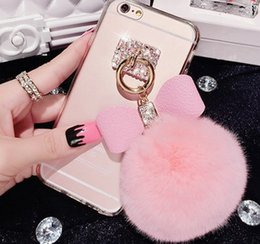 Wholesale For iphone plus Phone Case fashion iPhone6s Soft Silicone Cover Skin Glitter Bling Cover With Rabbit Fur Ball Pendant