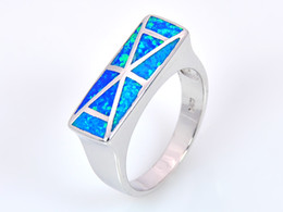 Wholesale & Retail Fashion Fine Blue Fire Opal Ring 925 Silver Plated Jewelryr For Women EMT1517012