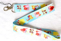 Free shipping 60pcs Kirby key yellow lanyard ID phone mobile neck strap for kids