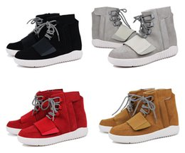 Wholesale 2016 Brand Men Shoes Kanye West Boost Athletic Boots Ankle Boots Basketball Sports Sneaker Casual Flat PU Leather Sneakers With Box