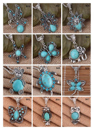 Fashion women's DIY Tibetan silver turquoise necklace(with chain) 12 pieces a lot mixed style,animal European Beads pendant necklace EMTQN4