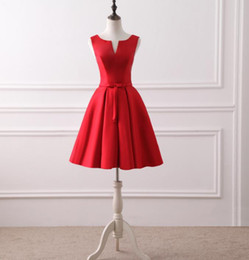 Wholesale Simple Short Red Cheap Prom Dresses Artistic Neckline Mini Women Formal Cocktail Party Dress Gowns In Stock