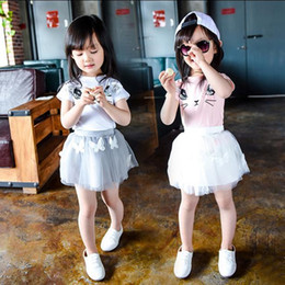 Wholesale Hot Sale Girls Clothing Sets New Summer Fashion Style Cartoon Kitten Printed T Shirts Net Veil Dress Girls Clothes Sets