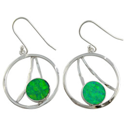 American handcrafted Round shape sterling silver 925 Opal earrings beautiful and colorful gemstone for women in party E7532