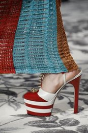 Angel leather striped platform sandals spike-embellished authentic platforms pumps T-strap pumps in metallic silver and hibiscus red