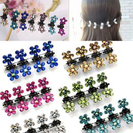 Wholesale-Susan' 12 PC Crystal Flower Mini Claw Clamp Hair Clip Hair Pin NEW Barrette Hair Accessories for Baby Girl Lady