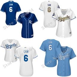Dame ville en Ligne-Les femmes Royals de qualité supérieure authentiques de Kansas City Royals # 6 Lorenzo Cain base-ball frais de Base-ball Mailles de broderie de dames tailles S-2XL