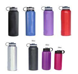 Eaux fraîches en Ligne-Hydro Flask 18 oz / 32 oz / 40 oz / 64 oz Bouteille d'eau avec le logo 304 en acier inoxydable à double paroi Rambler Tumbler Keep Cool garder au chaud Wide Mouth