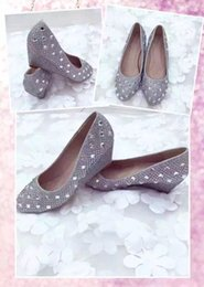 Wholesale Silver Bridal Shoes Wedges - In Stock Hot Sale Silver Bridal Wedge Heel Bridal Wedding Shoes Wedding Bridesmaid Shoes Evening Prom Party Shoes