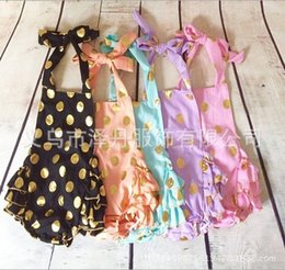 Wholesale In stock ReadytoShip Pink and Gold Polka Dots Bubble Romper Romper with knot headband set Summer baby bubble Romper Birthday gift for kids