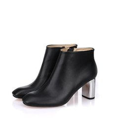 SALE~B093 34 40 black GENUINE LEATHER SILVER high HEEL ANKLE short BOOTS luxury designer inspired ce