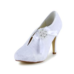 Wholesale Lace Up Material Heels - Wedding Dress Shoes In Bottie 10cm High Heel Boot Lace Material Fashional Custom Made Fall Winter White Lace Long Shoes Bridal Wedding Shoes