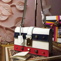high quality~w338 genuine leather tiger star handbag red black tan white navy 26*17*9cm