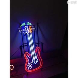 Neon Light Sign. LED sign Guitar music Neon Beer Sign Bar Sign Real Glass Neon Light Beer Sign 60CM*40CM