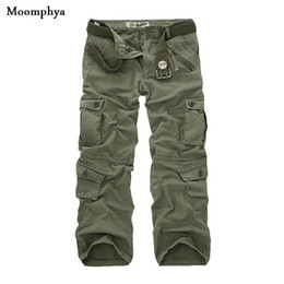 Wholesale-Men's Casual Solid Loose Long Pant Pleated Multi Pockets Mid Waist cargo pant washed multi color Overalls pants men army pants