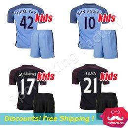 Wholesale kids Manchesteres Kun Aguero Jersey city Home Away Silva Kompany De Bruyne soccer Jersey Children football shirts