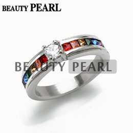 Stainless Steel Multicolor Zircon Rainbow Ring for Unisex Gay and Lesbian LGBT Pride Engagement Wedding Band Rings