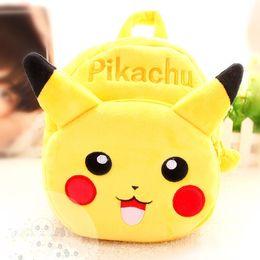 Bolsas de bolsillos en venta-Poke Go Mochila de peluche Monstruo de bolsillo lindo regalo relleno de juguetes para bebé Niños Pikachu figura mochila de peluche niños bolsa de escuela