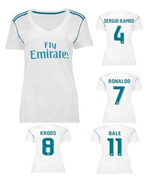 17 18 new soccer dress women's shirt RONALDO KROOS CARNAJAL BENZEMA BALE white soccer clothes girls short sleeve clothes