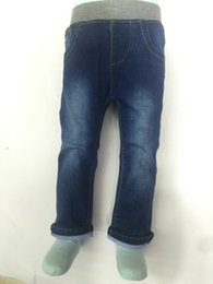 Wholesale New Baby Kids Jeans Boy clothing Elastic Jeans Blue Washed Jeans Gray Ribbing Elastic Waist Baby Boy Jeans