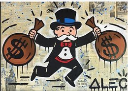 Wholesale High Quality genuine Hand Painted Wall Decor Alec monopoly Pop Art Oil Painting On Canvas Alec monopoly double pack idea