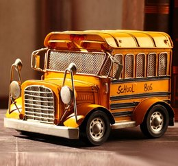 new zakka crafts handmade yellow classic school bus model alloy coffee bar home decor