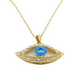 Blue Eye Pendant 18k Yellow Gold Filled Womens Pendant With Chain