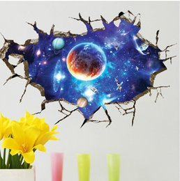 New 3D Outer Space Planet Wall Stickers For Kids Children's Room Beautiful Galaxy Stickers Free Shipping