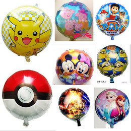 Wholesale Inch Cartoon Helium Foil Balloons Frozen Pikachu toy Ballons For Kids Birthday Wedding Party Decoration style