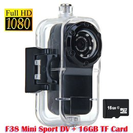 16GB TF Card +HD 1080P Waterproof mini camera DVR Alloy Shell Sport Helmet Action Camera F38 Thumb Camera Free Shipping