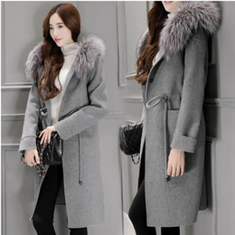 Wholesale Debutantes autumn and winter of the new fox collars woollen coat women s clothing of cultivate one s morality long woolen cloth coat