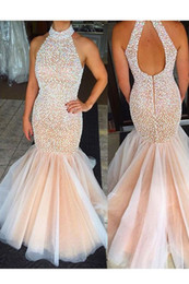 New Halter Neck Mermaid Prom Dresses High Neck Champagne Keyhold Back Tulle Beaded Rhinestones Top Floor Length Party Evening Dresses
