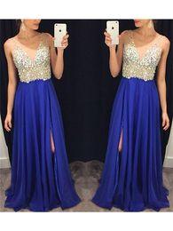 Spaghetti Strap Beading 2017 Prom Dresses Chiffon Draped V-Neck Sleeveless Floor-Length None Train Sexy Vestidos de Novia Evening Dresses