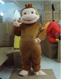 Curious George Monkey Adult Mascot Costume For For valentine's day birthday Size : S M L XL XXL