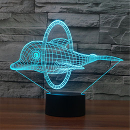 Animation de la lumière de nuit en Ligne-Colorful Nightlight USB Dolphins Jump Ring Décoration Bureau Animation 3D Lampe de table à LED Enfants Night Lights Cadeau de Noël -140