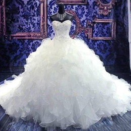 Popular Ball Gown Wedding Dresses Princess Beaded Corset Bodice Ruffles Skirt Puffy Organza Bridal Gowns Lace-up Back with Court Train