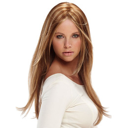 Wholesale high quality heat resistant ombre wigs synthetic hair mixed colour wig ladies wigs cosplay long straight wig women blonde gold brown