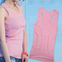 Wholesale-2016 Ladies Vest Cami Racerback Sando Shirt Tank Pink bralette