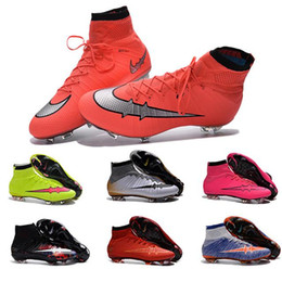 New Mens Obra Magista Superfly CR7 Children Mercurial Soccer Shoes FG Kids Boys Football Boots High Ankle Soccer Cleats pink orange