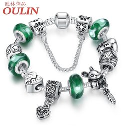 Wholesale 2016 Silver plated Green Bead Animal Best Friend Charm Bracelet with Safety Chain for Women Original Jewelry PA1433
