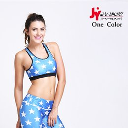 Wholesale Sexy Women S Sports Jerseys - Wholesale-Women Sport Vest For Running Gym Fitness Fashion Star Pattern Athletic Breathable Sexy Shirt Sport Jerseys For Women Bra Top