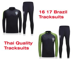Wholesale Benwon Brazil soccer kit thai quality football jackets brasil full sleeve winter outdoor tracksuits athletic training long trousers