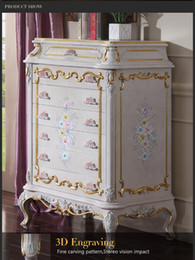 Wholesale Italian luxury chest of drawers Antique royalty bedroom furniture solid wood carved furniture with gold leaf gilding