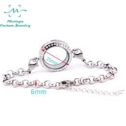 Cristales checo pulseras en venta-10 piezas extraíbles 316L acero inoxidable rolo cadena media 25 mm de cristal de la memoria de vida flotante pulsera de cristal checa pulsera