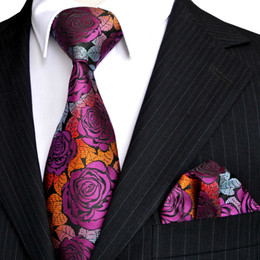 Free Shipping E12 Men's Tie Sets Rose Multicolor Fuchsia Red Yellow Blue Floral Neckties Pocket Square 100% Silk New Wholesale